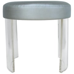 Custom Round Lucite Vanity Stool with a Silver Metallic Upholstered Seat Cushion