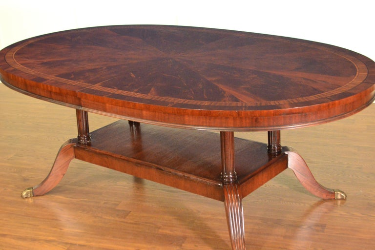 Georgian Custom Oval Traditional Mahogany Dining Table by Leighton Hall For Sale