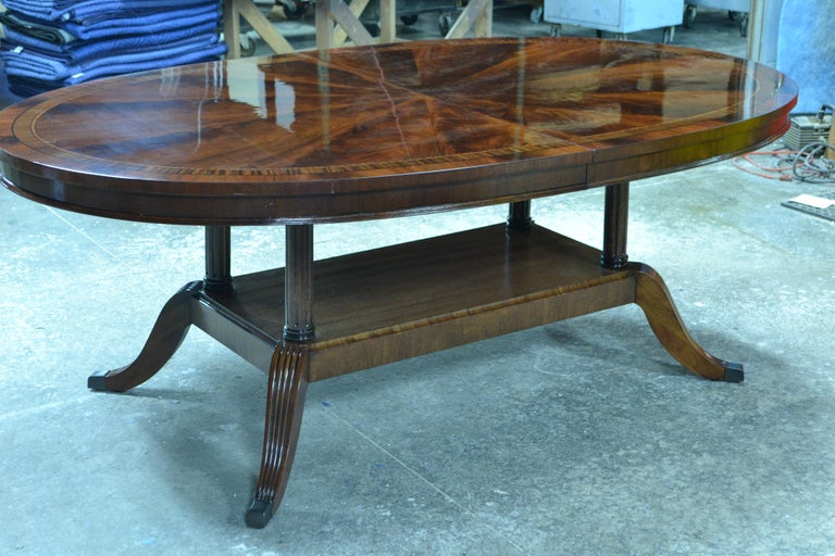 Custom Oval Traditional Mahogany Dining Table by Leighton Hall For Sale 2