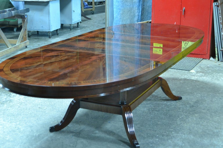 Custom Oval Traditional Mahogany Dining Table by Leighton Hall For Sale 3