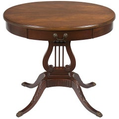 Oval Mahogany Side Accent End Table with Drawer on Lyre Trestle Pedestal Base