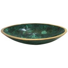 Oval Malachite and Brass Dish