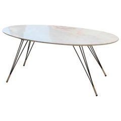 Oval Marble Table Coffee Diagonal Metal Foot with Brass Shoes, 1950s Italian