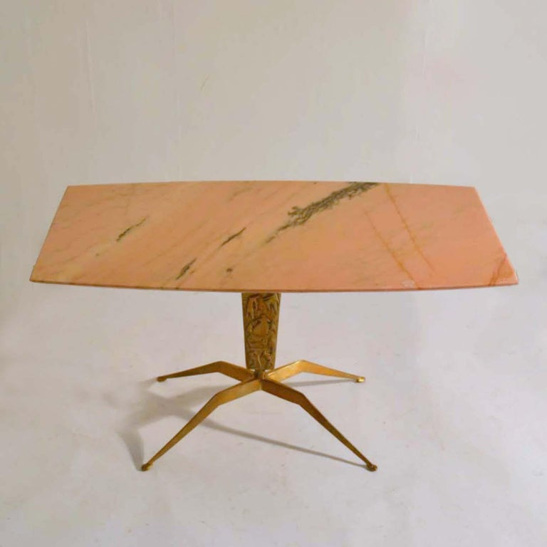 Coffee Table wit Oval Marble Top on Bronze Base attributed to Duilio Barnabé For Sale 5