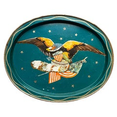 Oval Metal American Eagle Motif Serving Tray