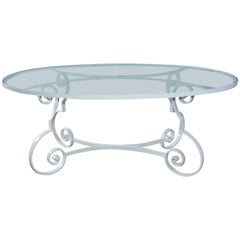 Oval Metal and Glass Midcentury Patio/Porch Garden Dining Table