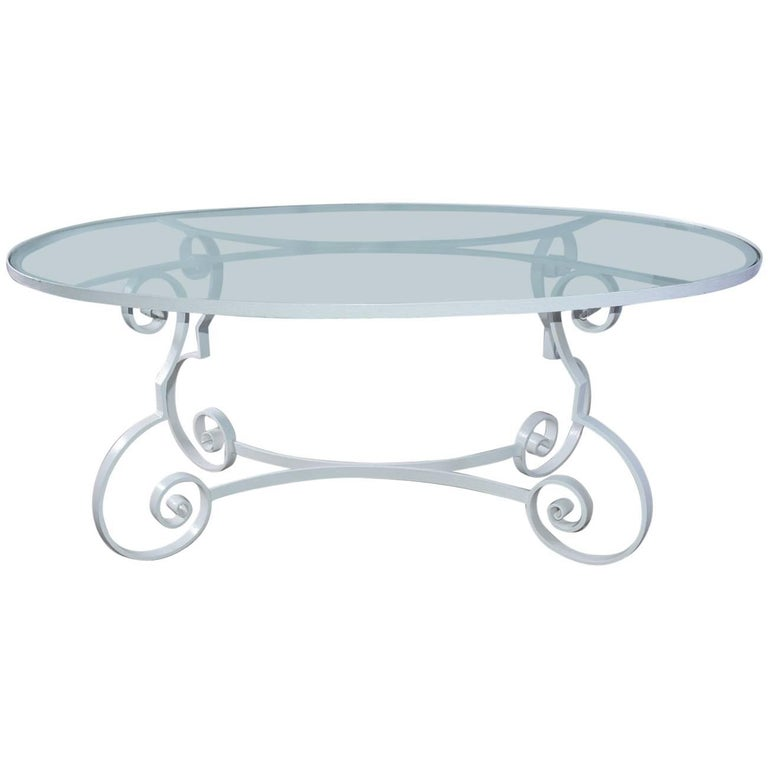 Oval Metal and Glass Midcentury Patio/Porch Garden Dining Table For Sale