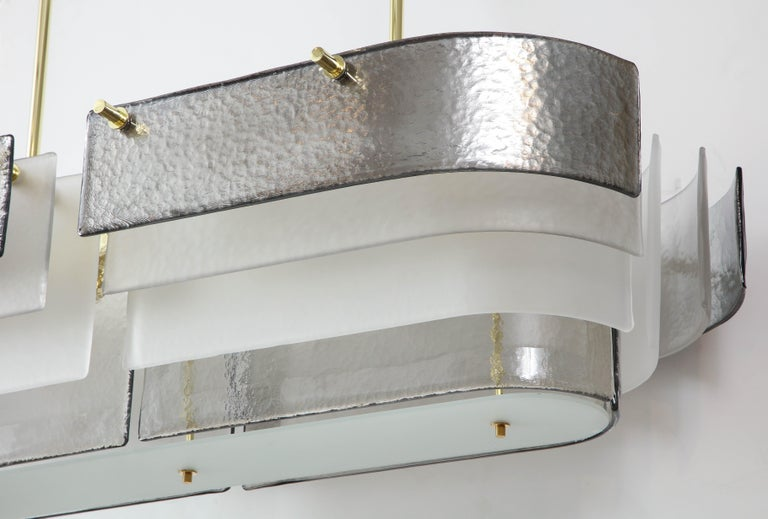 Italian Oval Metallic Silver, Grey, White Murano Glass and Brass Chandelier, Italy, 2019 For Sale
