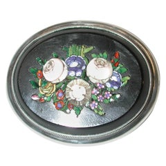 Victorian Oval Micro-Mosaic Brooch Mounted in Silver, Dated circa 1880