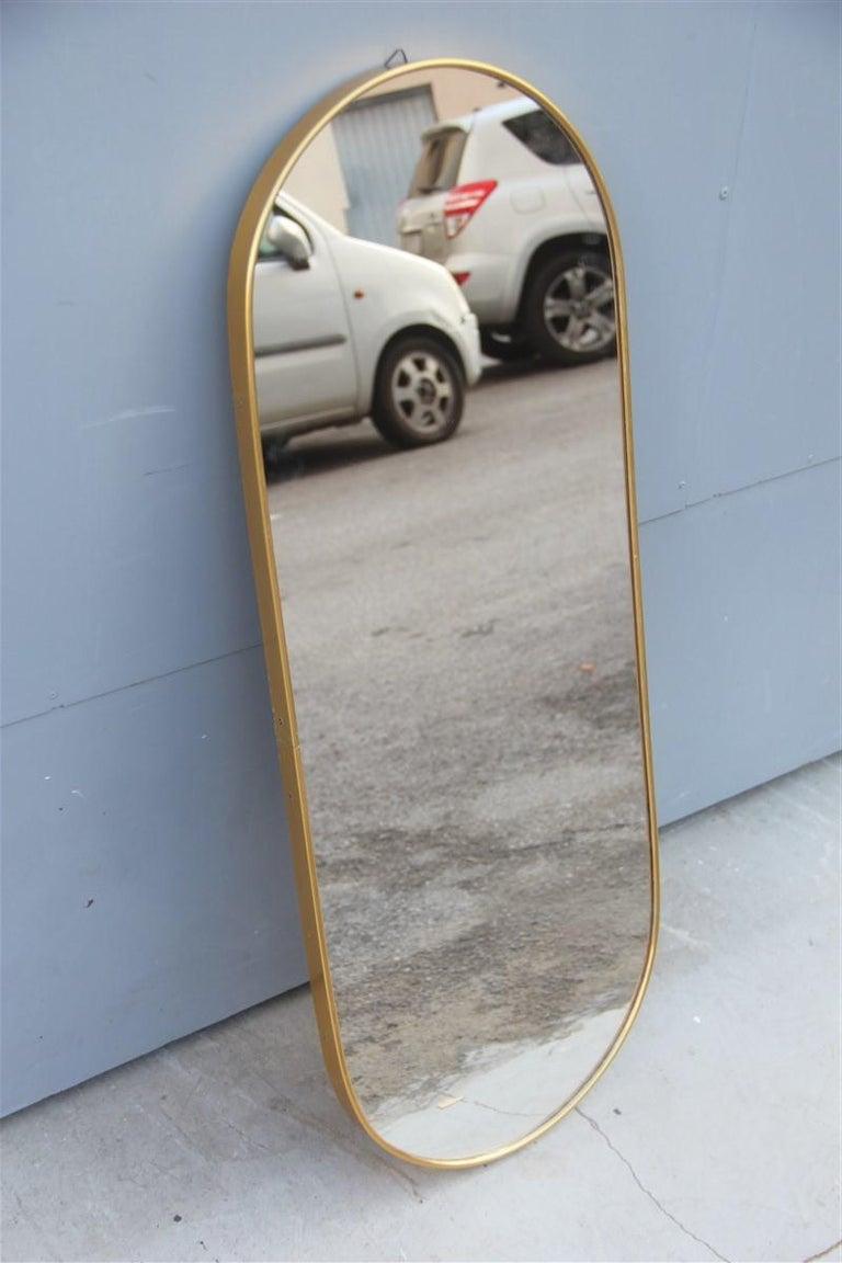 Mid-Century Modern Oval Midcentury Italian Wall Mirror Aluminum Golden 1950s Italian Design For Sale