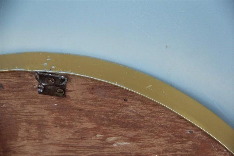 Oval Midcentury Italian Wall Mirror Aluminum Golden 1950s Italian Design For Sale 1