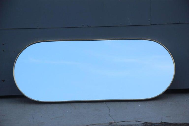 Oval Midcentury Italian Wall Mirror Aluminum Golden 1950s Italian Design For Sale 2