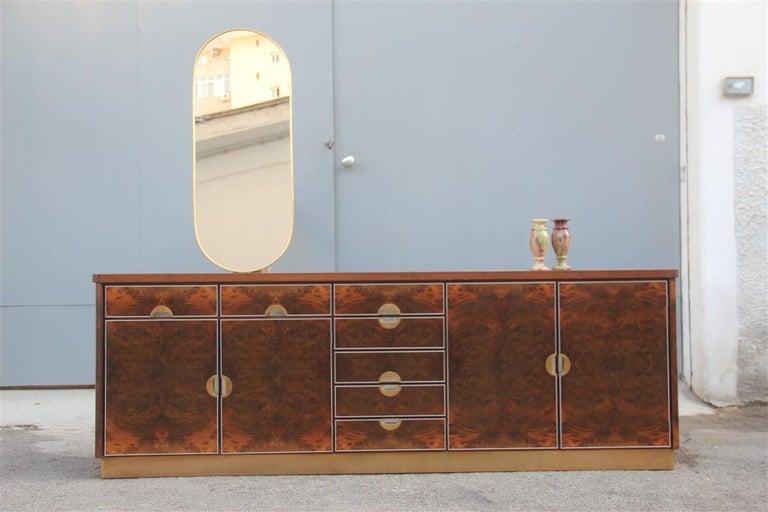 Oval Midcentury Italian Wall Mirror Aluminum Golden 1950s Italian Design For Sale 3