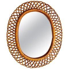 Oval Mid Century Mirror with Woven Rattan Frame