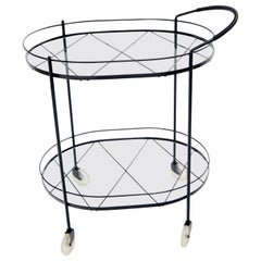 Oval Mid-Century Modern Black Lacquer Serving Bar Tea Cart