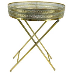 Oval Midcentury Side Table in Brass and Mirrored Glass Top