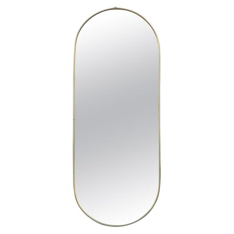 Oval Midcentury Italian Wall Mirror Aluminum Golden 1950s Italian Design For Sale