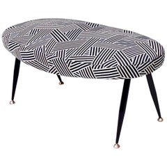 Oval Midcentury Pouf with Black and White Fabric Upholstery by Dedar