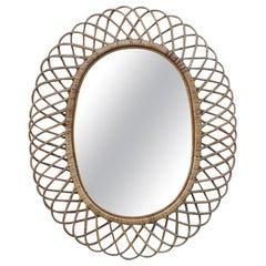 Oval Mirror Bamboo Design Italian Design Mid-Century Modern, 1960