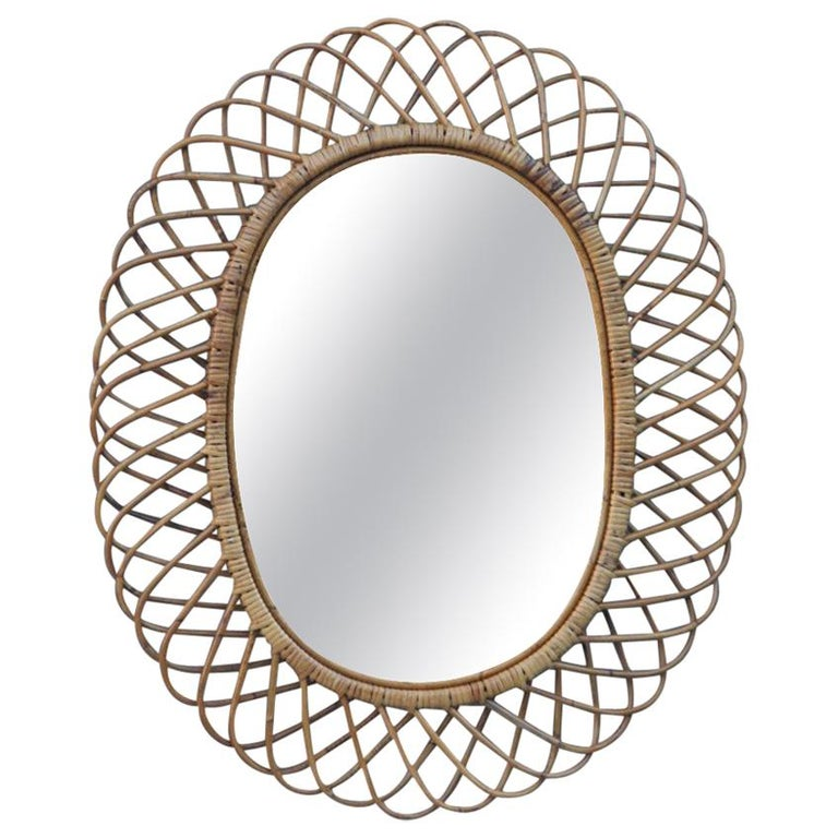 Oval Mirror Bamboo Design Italian Design Mid-Century Modern, 1960 For Sale