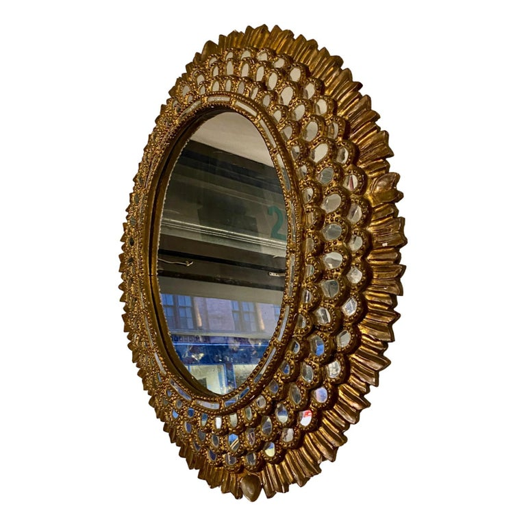 Gilt Large Oval Spanish Mirror For Sale