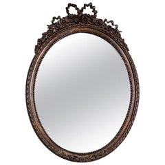 Oval Mirror from the 1980s-1990s in a Stylized Frame