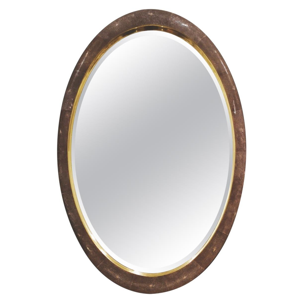 Oval Mirror in Shagreen and Gold Leaf from Elan Atelier