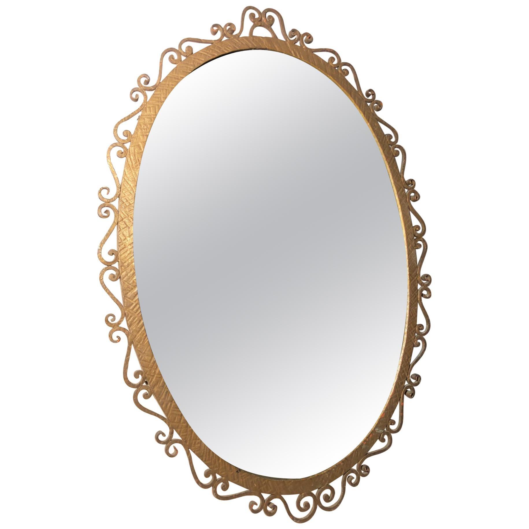 Oval Mirror Metal 1977 Original from Viareggio, Tuscany, Italy