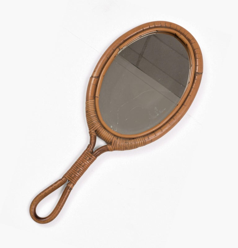 European Oval Mirror, Vintage Rattan Hand Mirror, Franco Albini style, Italy, 1960s For Sale