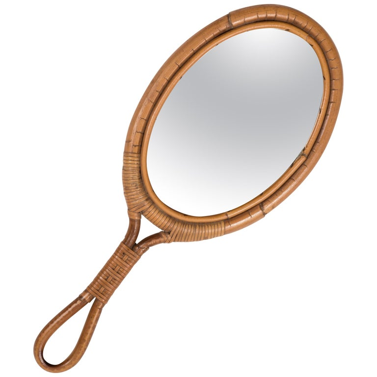 Oval Mirror, Vintage Rattan Hand Mirror, Franco Albini style, Italy, 1960s For Sale