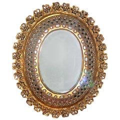 Oval Mirror with Floral Details