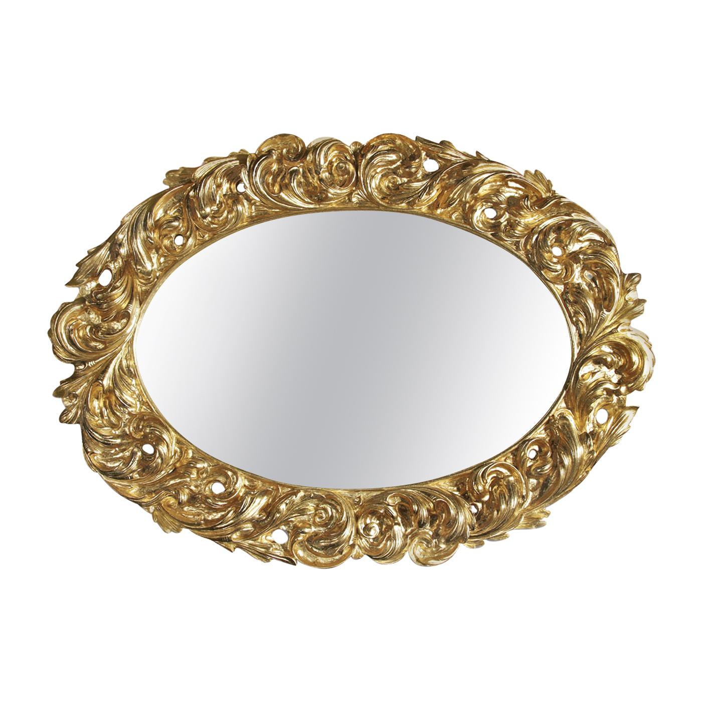 Oval Mirror with Gold Leaf