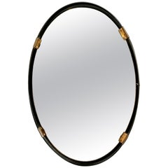 Oval Mirror with Iron Floating Style Frame, Italy, 1970s