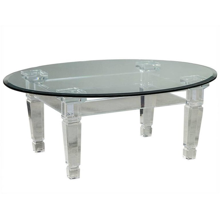 Modern Acrylic Coffee Table: Oval Modern Acrylic And Glass Cocktail Table For Sale At
