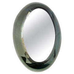 Oval Moderne Mirror with Gray Oval Frame
