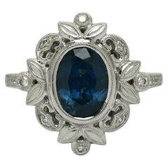 Oval Montana Blue Sapphire Diamond Edwardian Style Engagement Ring White Gold