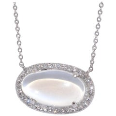 Oval Moonstone and Diamond Pendant Necklace