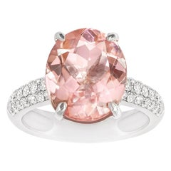 Oval Morganite Claw Set Ring with Pave Diamond Band Set in 18 Carat White Gold