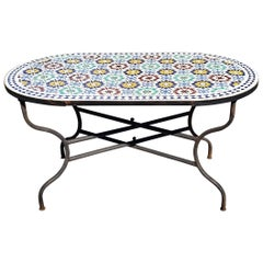 Oval Moroccan Mosaic Dinning Table, Beldia Pattern
