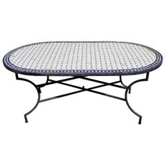 Oval Moroccan Mosaic Dinning Table, Simple White