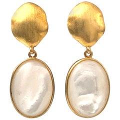 Oval Mother of Pearl Vermeil Drop Earrings