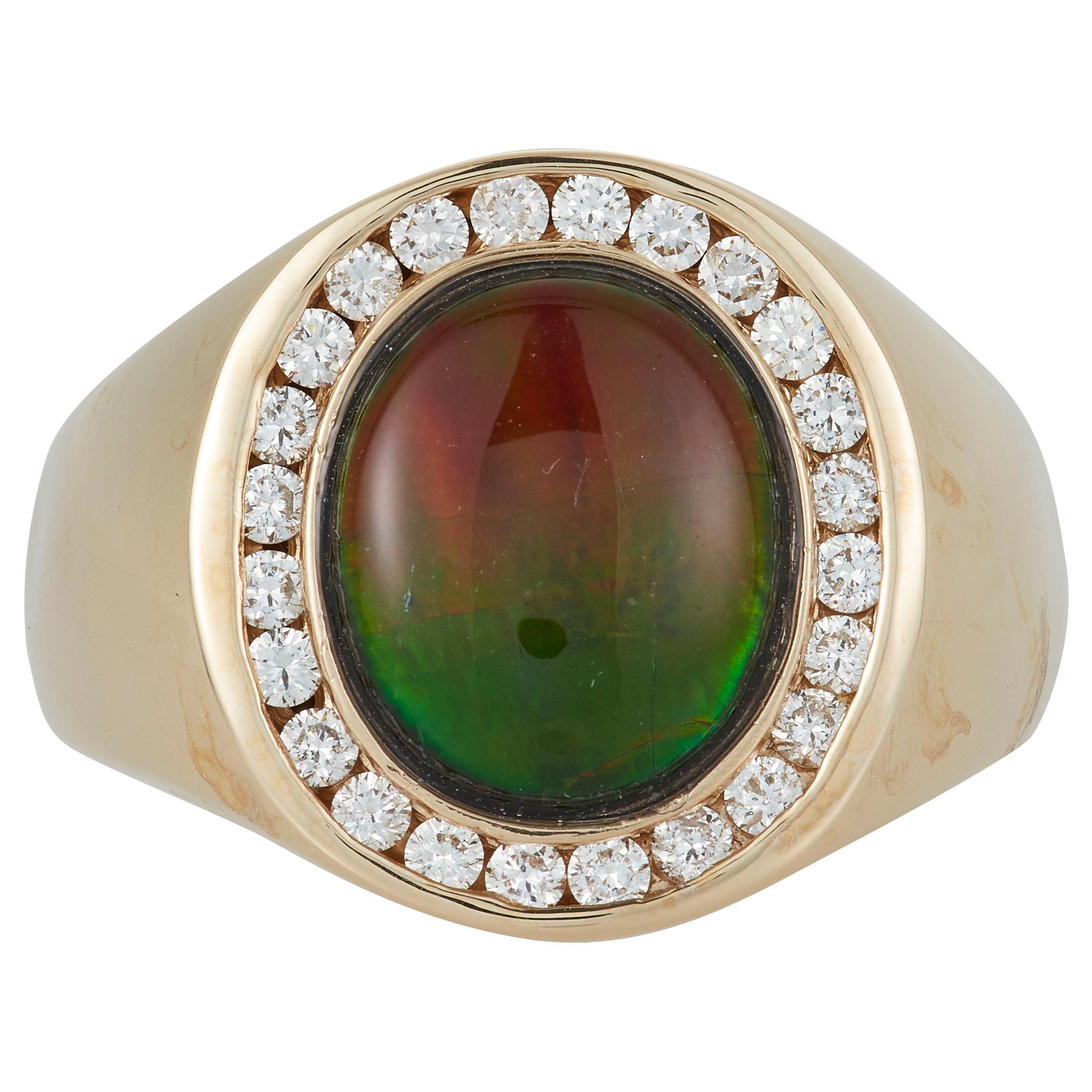 Oval Multicolor Ammolite Diamond Halo Mens Gents Unisex Dome Ring 14K Gold