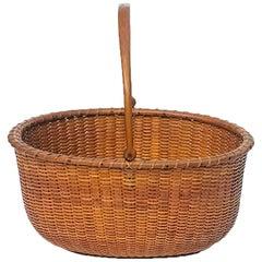 Oval Nantucket Lightship Basket with Original Label