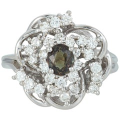 Oval Natural Color Changing Alexandrite Diamond Cluster Ring 14 Karat White Gold