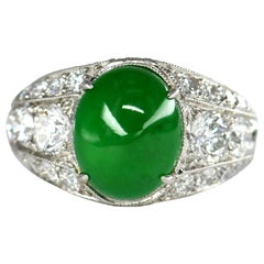 Oval Natural Untreated Jadeite Jade Cabochon Platinum Diamond Ring