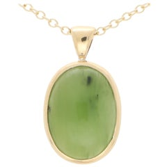 Oval Nephrite Pendant Necklace Set in 9k Yellow Gold