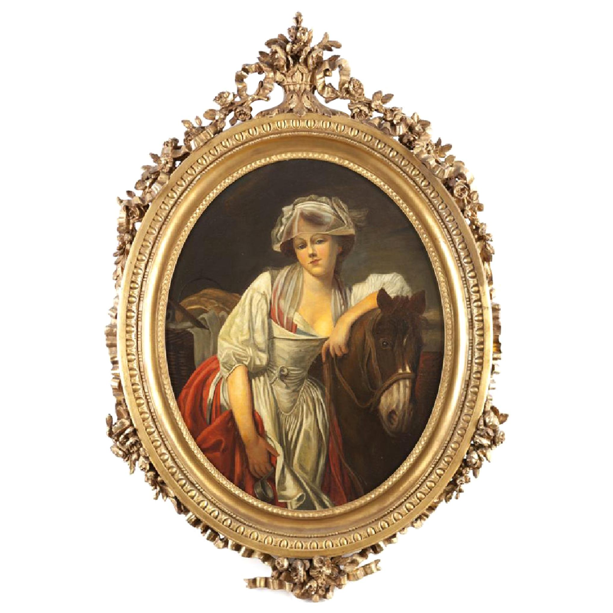 Oval Oil on Canvas Painting of a Woman with Horse, 19th Century