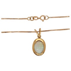 Oval Opal Gemstone Pendant and Chain in 14 Karat Yellow Gold, Five Star Jewelry