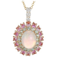 Oval Opal, Green, Pink and Orange Sapphire, Diamond Pendant Halo 14 Karat Gold