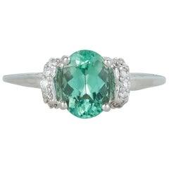 Oval Paraiba Tourmaline Diamond Accent Modern Engagement Ring 18 Karat Gold